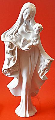 Madonna mit drei Engeln, Alabaster 30 cm