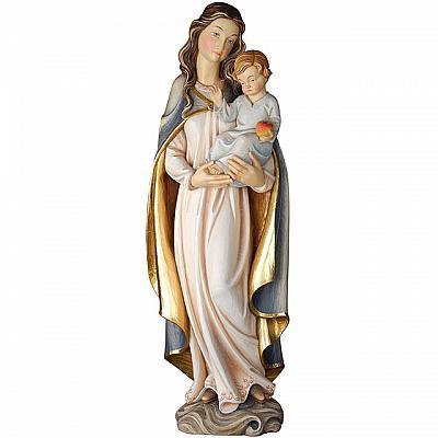 Madonna mit Jesuskind und Apfel aus Holz