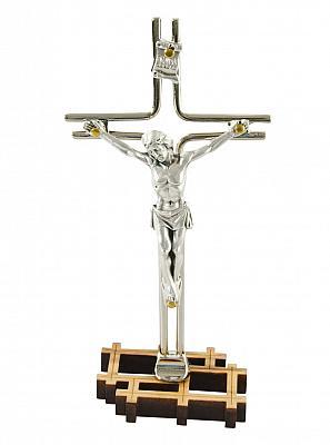 Stand-Kruzifix metall, silberfarben