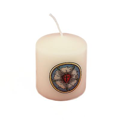 Kerze mit Lutherrose