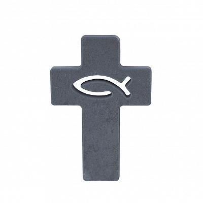 Modernes Kreuz 'Fisch', aus Schiefer
