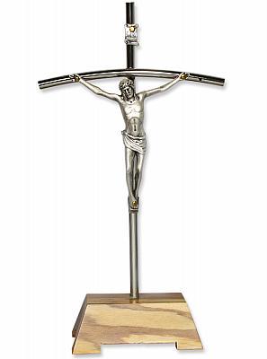 Standkruzifix, schlank mit Sockel aus Olivenholz