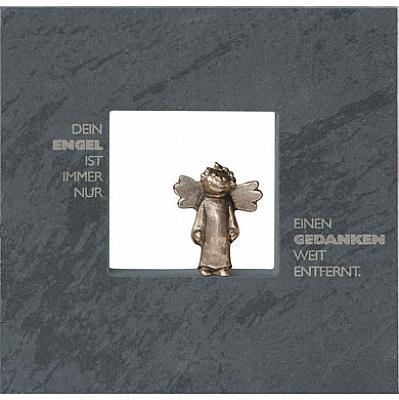 Schiefertafel mit Bronze-Engel 'Nur einen Gedanken weit'