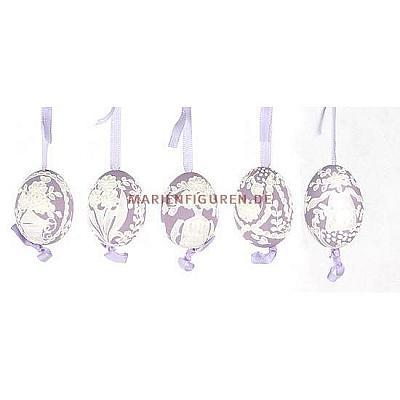 Ostereier 5 Stück lila, Ornamentik