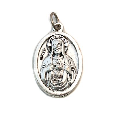 Medaille oxidiertes Metall Scapulier und Herz Jesu