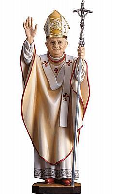 Papst Benedikt XVI mit Ferula, Holz