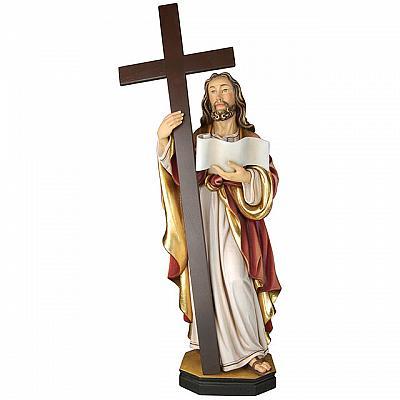 Jesusfigur Passionschristus mit Kreuz aus Holz