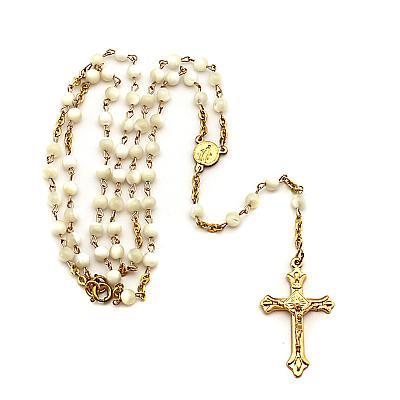 Rosenkranzkette Perlmutt, Gold Double