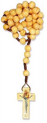 Pinienholz-Rosenkranz, sehr große Perle