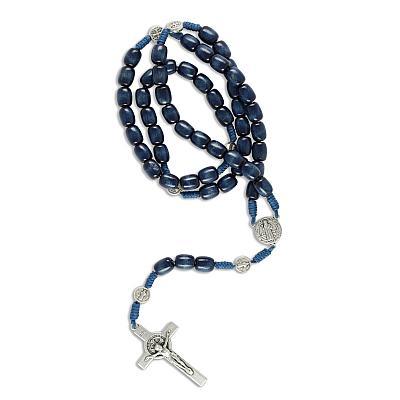 Rosenkranz aus Holz, Benediktus blaue Perle (Blau)
