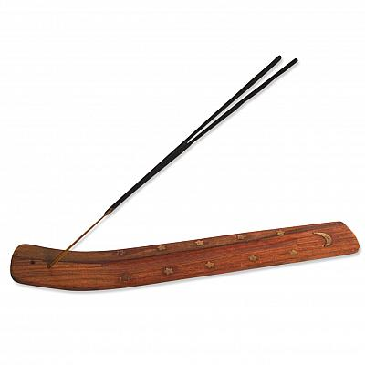 Räucherstäbchenhalter Holz,  verziert