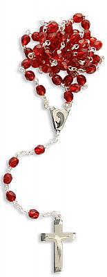 Rosenkranz aus Glas rot, stilisiert versilbert (Rot versilbert)