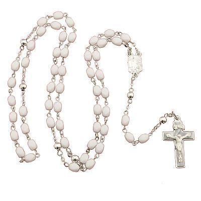 Rosenkranz aus Glas, weiß rechteckige Perle