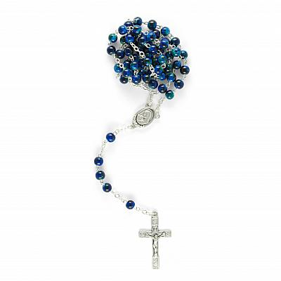 Rosenkranz marmorierte Glasperle, blau