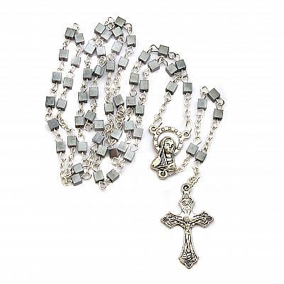 Rosenkranz Hämatit, quadratische Perle