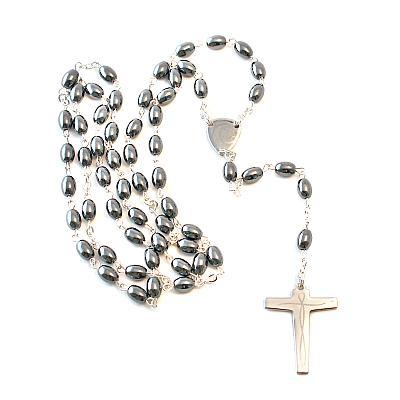Rosenkranz Hämatit ovale Perle, versilbert