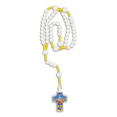 Rosenkranz mit Kommunionkreuz, geknüpft weiße Perle (Weiß und gelb)
