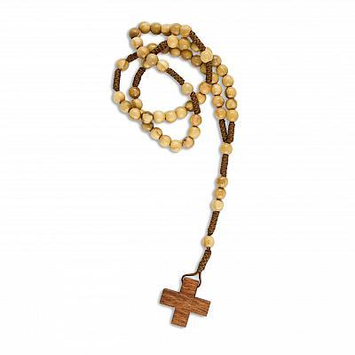 Rosenkranz Olivenholzperle, mit kleinem dunklen Kreuz