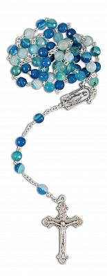 Rosenkranz Achat 'Himmel', blau (Himmel - blau)