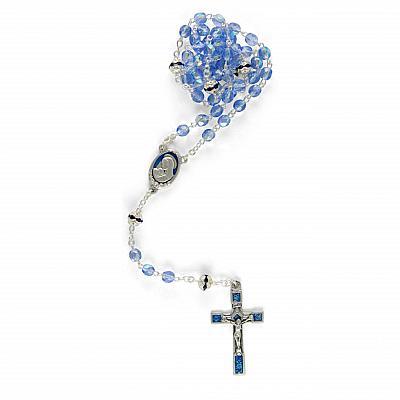 Rosenkranz 'Madonna mit Kind', hellblau schillernd (Hellblau)