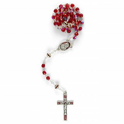 Rosenkranz 'Madonna mit Kind', rot schillernd (Rot)