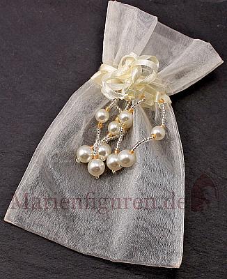 Rosenkranzbeutel Organza mit Perlen creme