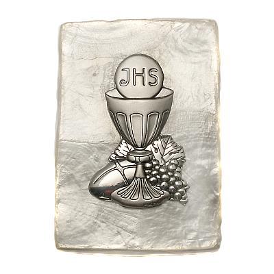 Rosenkranzdose Kelch aus Perlmutt, 5x7 cm (Kelch - Kommunion)