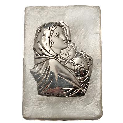 Rosenkranzdose Madonna mit Jesus aus Perlmutt, 5x7 cm (Maria)