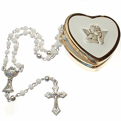 Rosenkranzetui Herzform Engel mit Rosenkranz