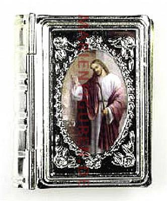 Rosenkranzetui in Buchform 'klopfender Jesus'