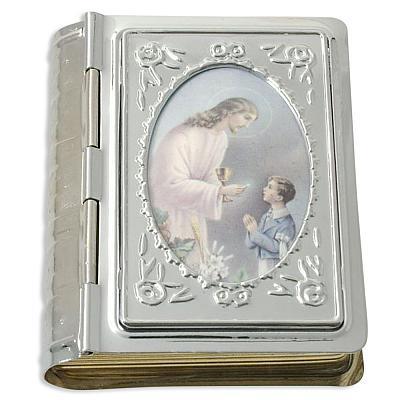 Rosenkranzetui in Buchform Kommunion Jesus mit Junge