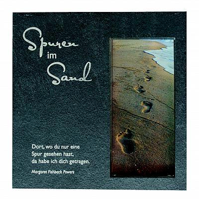 Schieferrelief mit Glaseinsatz 'Spuren im Sand'