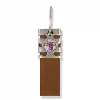Schlüsselanhänger Christophorus Nubukleder, braun (Braun)