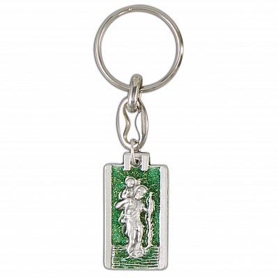 Schlüsselanhänger Christopherus, glitzernd grün (Grün)