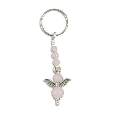 Schlüsselanhänger 'Engelchen', Rosenquarz silberfarben