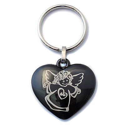 Schlüsselanhänger 'Herz mit Engel' aus Stein, schwarz