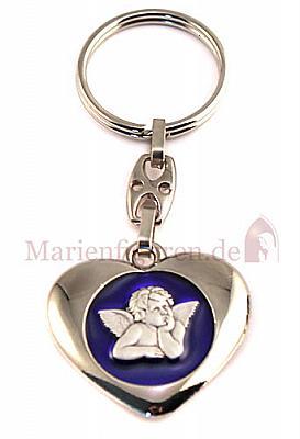 Schlüsselanhänger Herz mit Engel blau