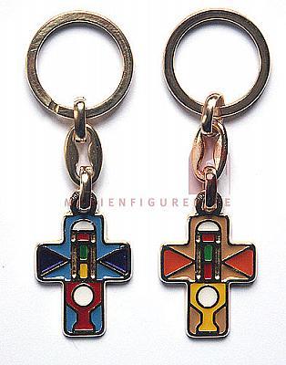Schlüsselanhänger Kreuz, farbig