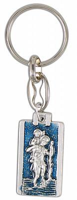 Schlüsselanhänger Christopherus, glitzernd blau (Blau)