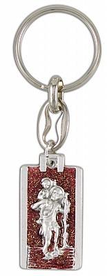 Schlüsselanhänger Christopherus, glitzernd rot (Rot)