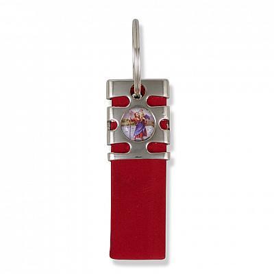 Schlüsselanhänger Christophorus Nubukleder rot (Rot)