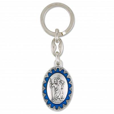 Schlüsselanhänger oval Christopherus, blau