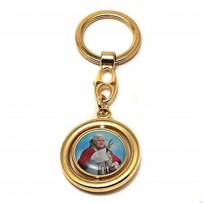 Schlüsselanhänger Papst Benedikt XVI - Petersdom, goldfarben