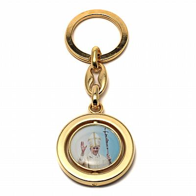 Schlüsselanhänger Papst Benedikt XVI - Petersdom II, goldfarben