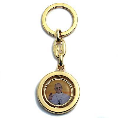 Schlüsselanhänger 'Papst Franziskus am Petersdom' goldfarben
