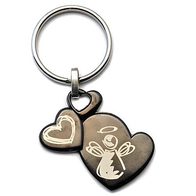 Schlüsselanhänger 'Schutzengel der drei Herzen' aus Stein, schwarz