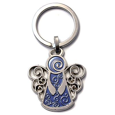 Schlüsselanhänger 'Schutzengel' mit Locken in blau (Blau)