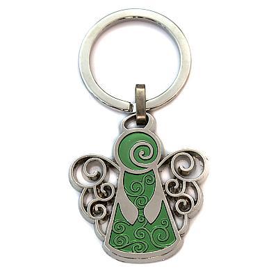 Schlüsselanhänger 'Schutzengel' mit Locken in grün (Grün)