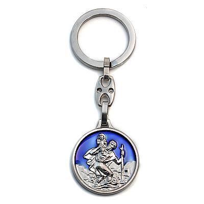 Schlüsselkette Christophorus blau