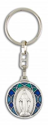 Schlüsselanhänger 'Gnadenspenderin' und Heiligem Christophorus, Email blau grün